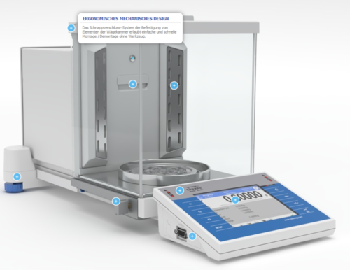 Analytical balance with automatic doors